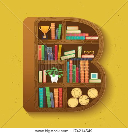 Bookcase shaped letter B. Vector school print for shirt, funny card with books on bookshelves in flat design style.