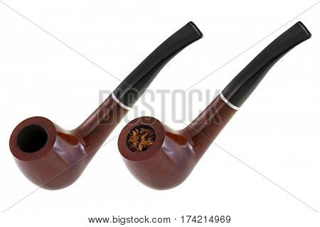 Empty pipe and one filled with classic blended aromatic pipe tobacco with vanilla flavor isolated on white background
