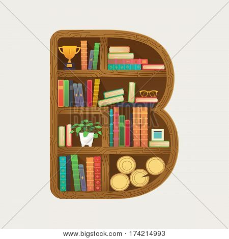 Creative book cover. Bookcase shaped letter B. Vector home library print for shirt, funny card in flat design style.