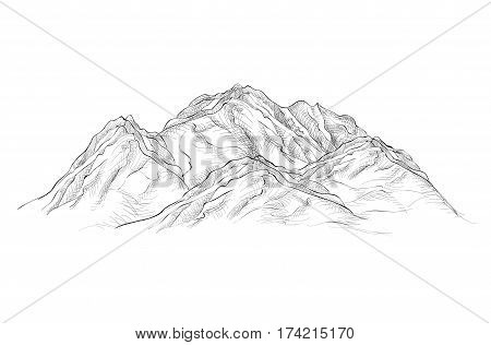 Mountains sign sketch isolated. Engraving sketch. Mountain peak landscape etching
