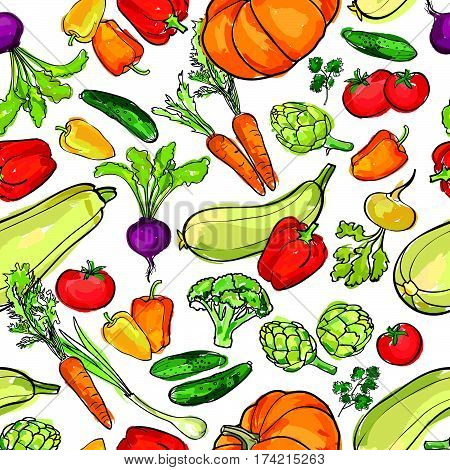 Vegetables pattern. Food ingredient seamless background. Food ingredients