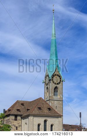 Clock tower of the Fraumunster cathedral in Zurich Switzerland - a well known landmark of the city.
