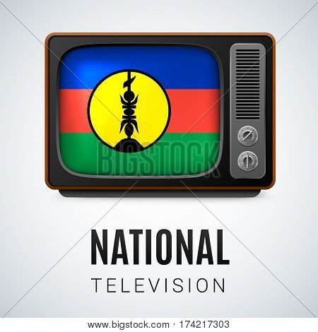 Vintage TV and Flag of New Caledonia as Symbol National Television. Tele Receiver with flag design