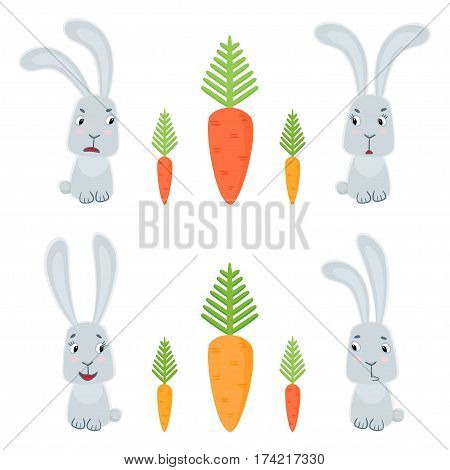 Funny cute bunnies and carrots in cartoon style isolated on white background