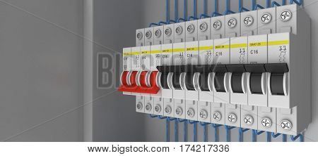 Electrical circuit breakers. 3D. 3D rendering. Knife switch