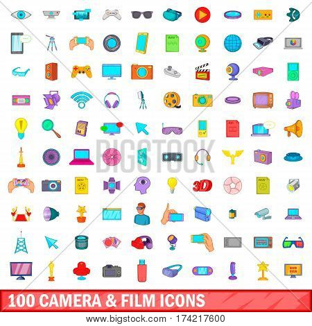 100 camera and film icons set in cartoon style for any design vector illustration