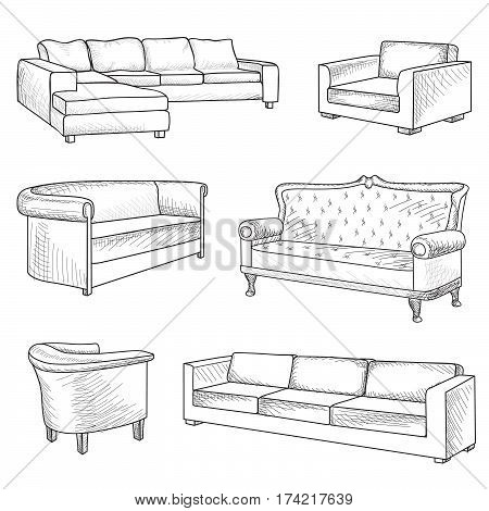Furniture set. Interior detail outline sketch collection: bed sofa settee armchair.
