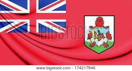 3D Flag of the Bermuda. 3D Illustration.
