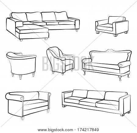 Furniture set. Interior detail outline collection: bed sofa settee armchair.