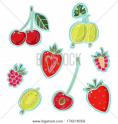 A set of different berries on a white background. Gooseberries, cherries, strawberries, raspberries.