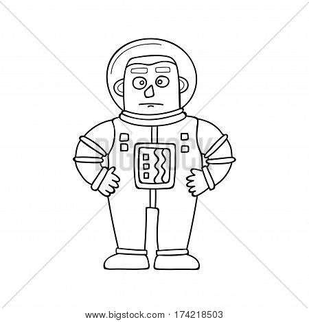 Cartoon astronaut isolated on white. Vector illustration in doodle style.