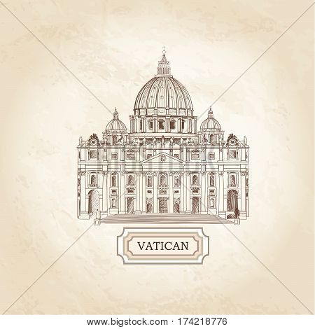Vatican old paper textured architectural background. St. Peter's Cathedral Rome. Travel Italy sign.