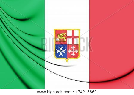 3D Civil Ensign of Italy. 3D Illustration.