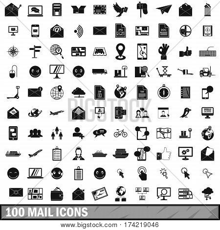 100 mail icons set in simple style for any design vector illustration
