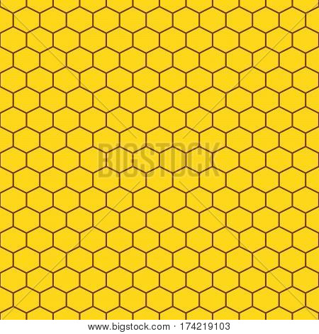 Honeycomb yellow seamless vector pattern. Reticulate honey repeating background.