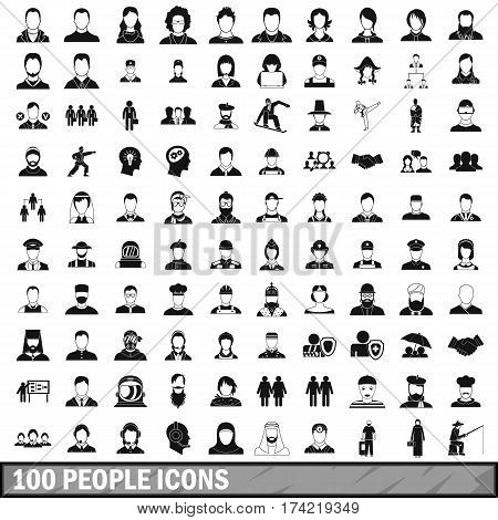 100 people icons set in simple style for any design vector illustration