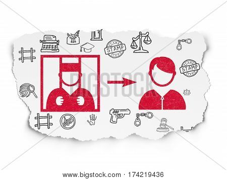 Law concept: Painted red Criminal Freed icon on Torn Paper background with  Hand Drawn Law Icons