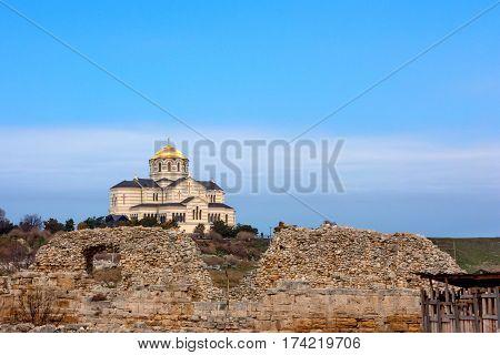 Ruins of ancient Chersonesus Tauric archaeological park in Sevastopol, Crimea