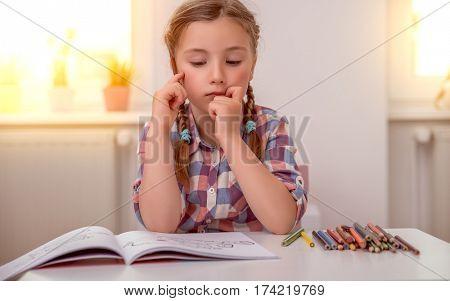 smart pensive little cute daughter
