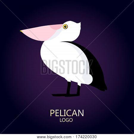 Pelican vector icon on dark background. Logo. Flat design.
