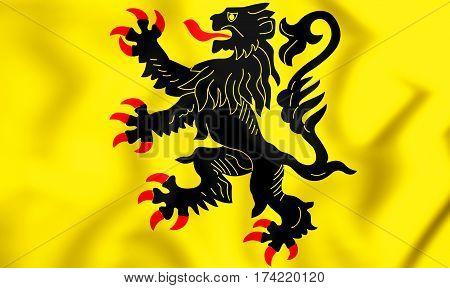 3D Flag Of Nord-pas-de-calais, France. 3D Illustration.