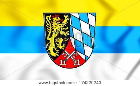 3D Flag Of Upper Palatinate Region, Germany. 3D Illustration.