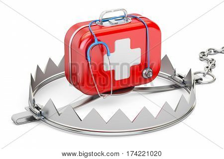 Addiction from medicine and pharmaceutical industry concept. Trap with first aid kit 3D rendering
