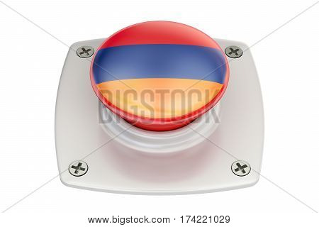 Armenia flag push button 3D rendering  isolated on white background