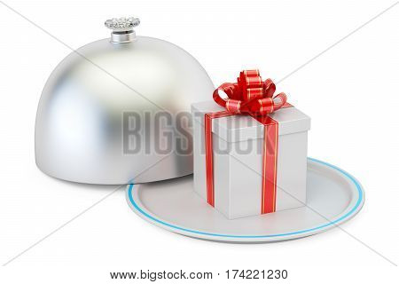 Restaurant cloche with gift box 3D rendering isolated on white background