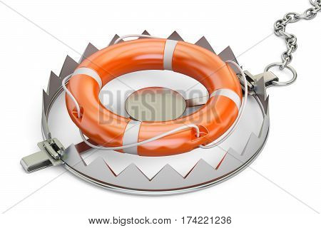 trap with lifebelt 3D rendering isolated on white background