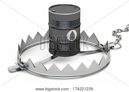 trap with oil barrel 3D rendering isolated on white background