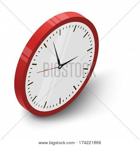 Wall clock icon. Isometric illustration of wall clock vector icon for web