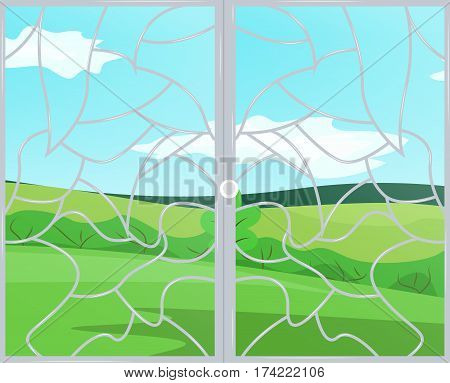 A window with a patterned grid. View landscape sunny day. Vector illustration