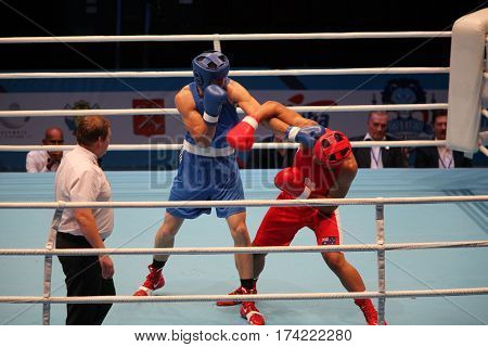 St. Petersburg Russia November 23 2016 Youth World Boxing Championship men boxing match fist punch