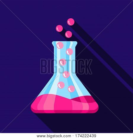 Chemical flask icon. Flat illustration of chemical flask vector icon for web