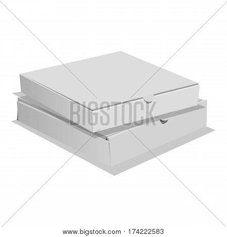 Two pizza boxes icon. Realistic illustration of two pizza boxes vector icon for web