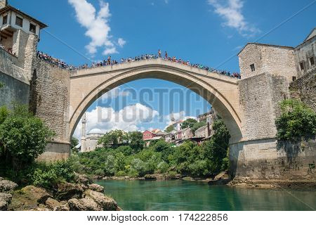 Mostar, Bosnia and Herzegovina, circa july 2016: The Old Bridge in Mostar, Bosnia and Herzegovina