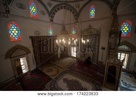 Mostar, Bosnia and Hercegovina, circa july 2016: Interior of the mosque in Mostar