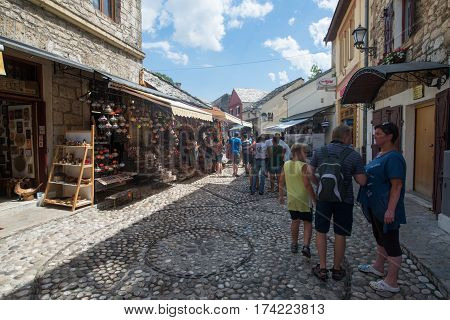 Sarajevo, Bosnia and Herzegovina, circa july 2016: Old town of Sarajevo in summer season