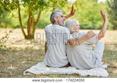 Senior couple sitting relaxed and happily waving in the park in summer