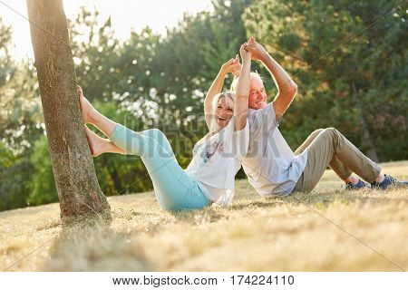 Senior couple in summer laughing in the park in summer