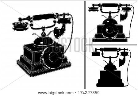 Retro Phone Isolated On White Isolated Illustration Vector