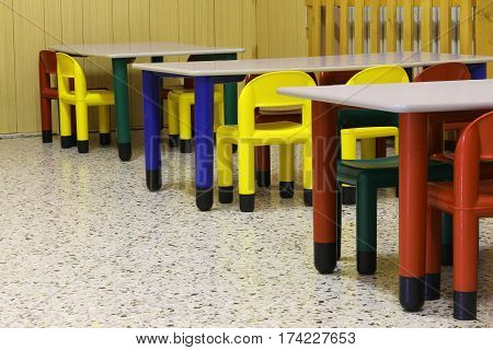 Small Colored Benches And Seats Of A Class Of A Preschool