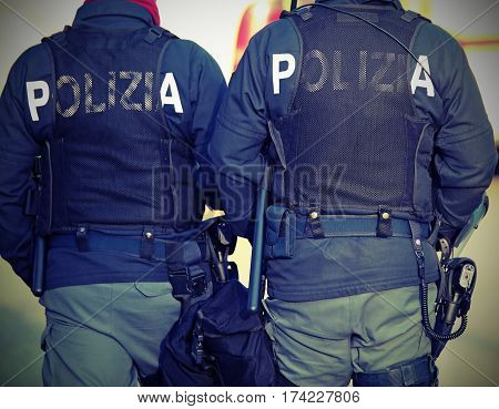 Two Italian Cops With The Words Polizia That Means Police In Ita
