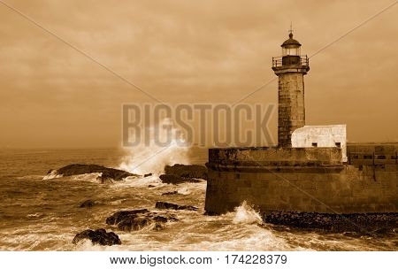 Lighthouse in Foz of Douro, Portugal, the picture in sepia