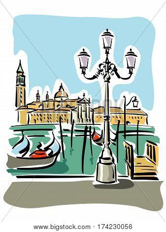 vector illustration of Venice and the characteristics gondolas