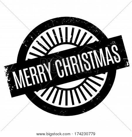 Merry Christmas rubber stamp. Grunge design with dust scratches. Effects can be easily removed for a clean, crisp look. Color is easily changed.