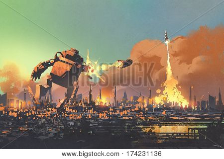 the giant robot launching rocket punch destroy the city, illustration painting