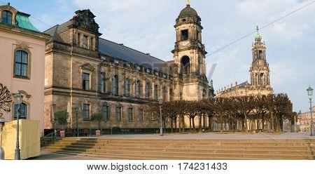 Hofkirche in Dresden at summer morning
