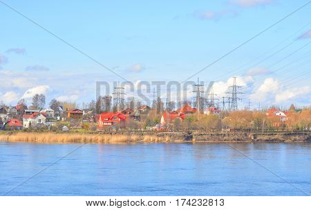 View of Neva River on the outskirts of St. Petersburg at sunny spring day Russia.